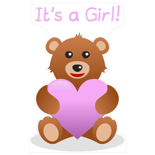 Its a Girl Teddy Bear Cardboard Cutout