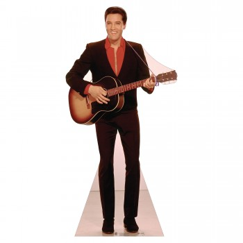 Elvis Red Shirt w Guitar Cardboard Cutout - $44.95