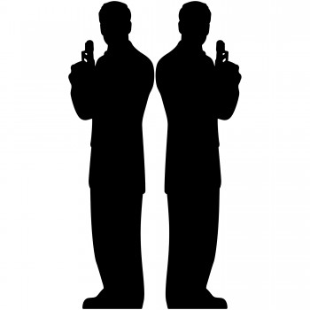 Secret Agent Male Silhouette Double Pack Cardboard Cutout - $44.95