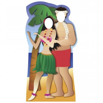 Hawaiian Couple Stand In Cardboard Cutout - $44.95