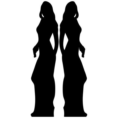 Secret Agent Silhouette Girl Double Pack Cardboard Cutout