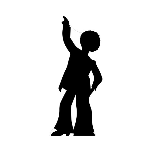 Disco Dancer Male Silhouette Cardboard Cutout