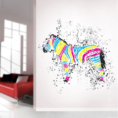 CMYK Zebra Wall Decal