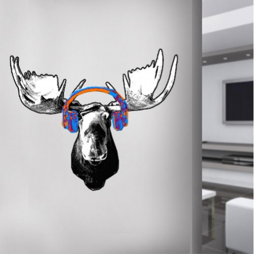 Moose Headphones Wall Decal