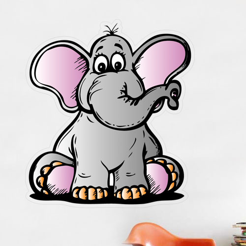 Cartoon Elephant Wall Decal