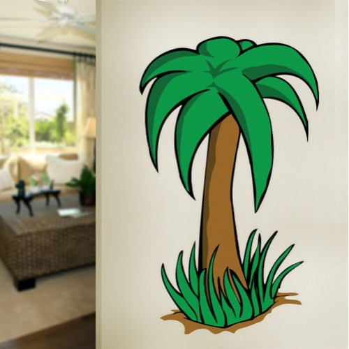 Cartoon Palm Tree Wall Decal