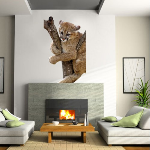 Baby Mountain Lion Wall Decal