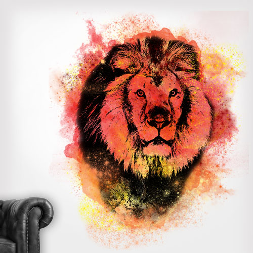Lion Spray Paint Wall Decal