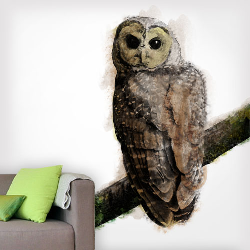 Owl Realistic Watercolor Artsy Wall Decal
