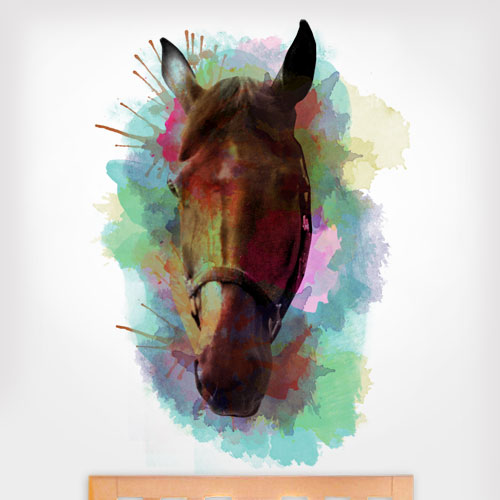 Watercolor Horse Head Wall Decal