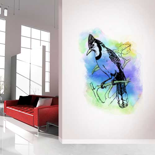 Bluejay Water Colour Wall Decal