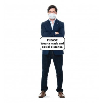 Social Distance Mask Standee Male - $39.95